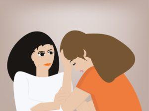真剣に話を聞く人と、頭を抱えながら相談をしている人のイラスト