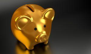 金の豚の貯金箱のイラスト
