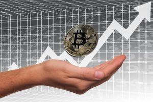 価格が上がっていくビットコインのイラスト