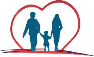 父、母、子どもが楽しそうに手をつないでいるイラスト