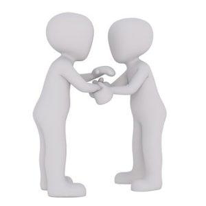 人と人が手を握り合っているイラスト